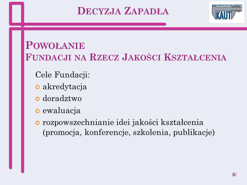 O RGANY F UNDACJI Rada Fundacji (7-9 osób)skład: przedstawiciele KRASP (co najmniej połowa składu), przedstawiciele KRZaSP, parlamentu studentów, krajowej reprezentacji doktorantów), ekspert zewnętrzny.
