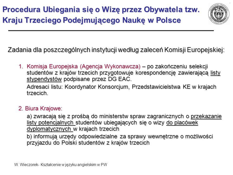 Procedura Ubiegania się o Wizę przez Obywatela tzw. Kraju Trzeciego Podejmującego Naukę w Polsce Zadania dla poszczególnych instytucji według zaleceń