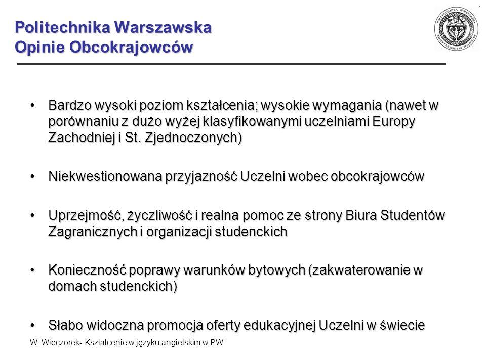 Politechnika Warszawska Opinie Obcokrajowców Bardzo wysoki poziom kształcenia; wysokie wymagania (nawet w porównaniu z dużo wyżej klasyfikowanymi ucze