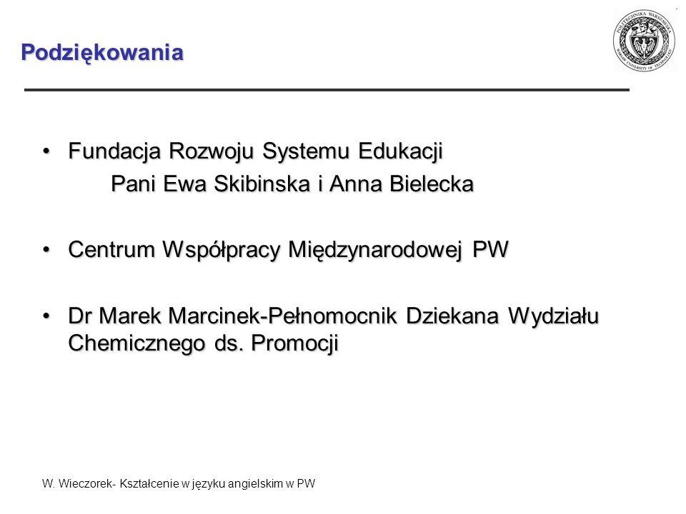 Podziękowania Fundacja Rozwoju Systemu EdukacjiFundacja Rozwoju Systemu Edukacji Pani Ewa Skibinska i Anna Bielecka Centrum Współpracy Międzynarodowej