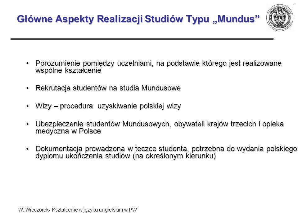 Główne Aspekty Realizacji Studiów Typu Mundus Porozumienie pomiędzy uczelniami, na podstawie którego jest realizowane wspólne kształceniePorozumienie