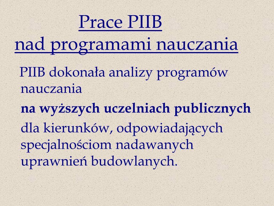 Prace PIIB nad programami nauczania PIIB dokonała analizy programów nauczania na wyższych uczelniach publicznych dla kierunków, odpowiadających specjalnościom nadawanych uprawnień budowlanych.