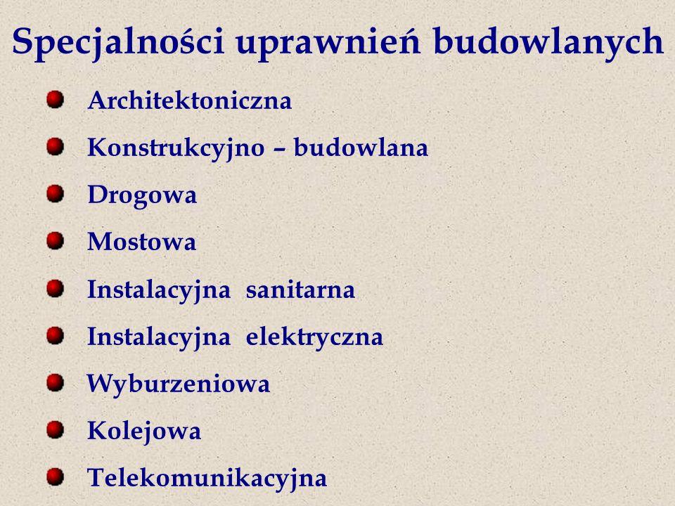 Specjalności uprawnień budowlanych Architektoniczna Konstrukcyjno – budowlana Drogowa Mostowa Instalacyjna sanitarna Instalacyjna elektryczna Wyburzeniowa Kolejowa Telekomunikacyjna
