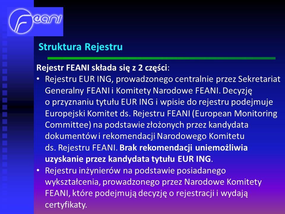 Rejestr FEANI składa się z 2 części: Rejestru EUR ING, prowadzonego centralnie przez Sekretariat Generalny FEANI i Komitety Narodowe FEANI.