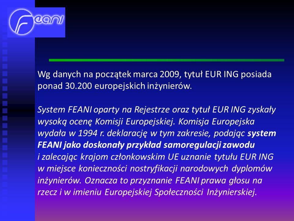 Wg danych na początek marca 2009, tytuł EUR ING posiada ponad 30.200 europejskich inżynierów.