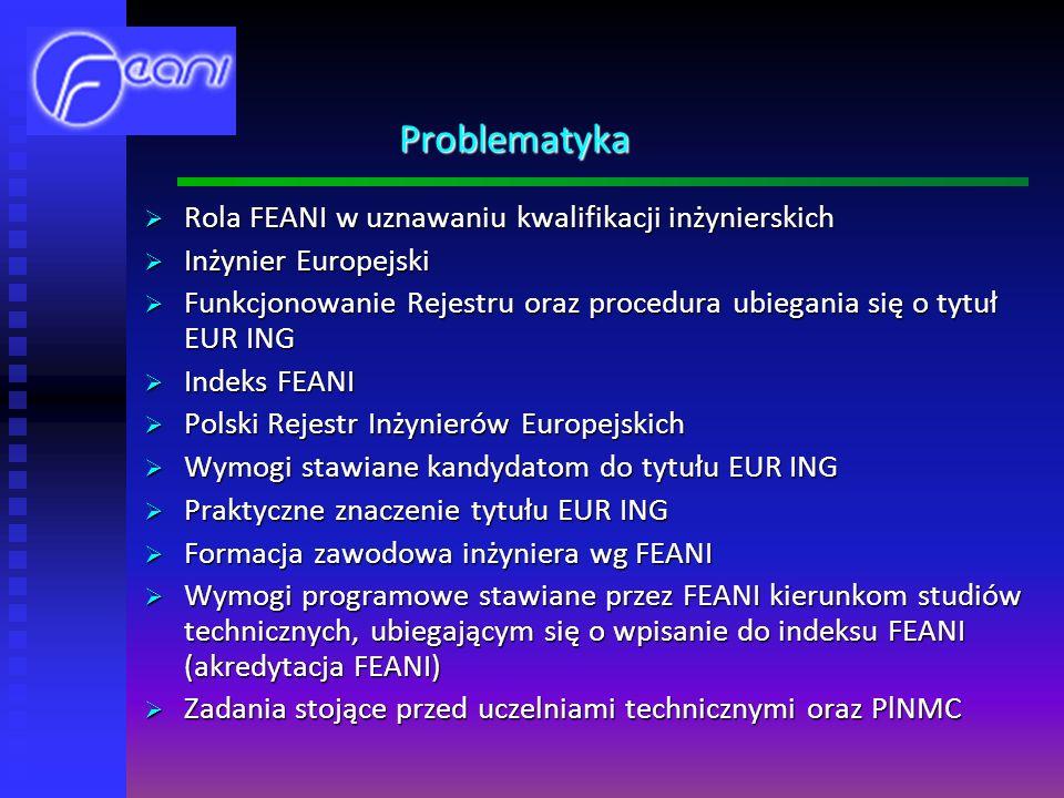 Problematyka Rola FEANI w uznawaniu kwalifikacji inżynierskich Rola FEANI w uznawaniu kwalifikacji inżynierskich Inżynier Europejski Inżynier Europejski Funkcjonowanie Rejestru oraz procedura ubiegania się o tytuł EUR ING Funkcjonowanie Rejestru oraz procedura ubiegania się o tytuł EUR ING Indeks FEANI Indeks FEANI Polski Rejestr Inżynierów Europejskich Polski Rejestr Inżynierów Europejskich Wymogi stawiane kandydatom do tytułu EUR ING Wymogi stawiane kandydatom do tytułu EUR ING Praktyczne znaczenie tytułu EUR ING Praktyczne znaczenie tytułu EUR ING Formacja zawodowa inżyniera wg FEANI Formacja zawodowa inżyniera wg FEANI Wymogi programowe stawiane przez FEANI kierunkom studiów technicznych, ubiegającym się o wpisanie do indeksu FEANI (akredytacja FEANI) Wymogi programowe stawiane przez FEANI kierunkom studiów technicznych, ubiegającym się o wpisanie do indeksu FEANI (akredytacja FEANI) Zadania stojące przed uczelniami technicznymi oraz PlNMC Zadania stojące przed uczelniami technicznymi oraz PlNMC