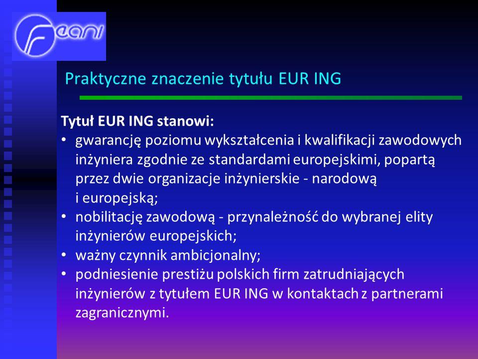 Tytuł EUR ING stanowi: gwarancję poziomu wykształcenia i kwalifikacji zawodowych inżyniera zgodnie ze standardami europejskimi, popartą przez dwie organizacje inżynierskie - narodową i europejską; nobilitację zawodową - przynależność do wybranej elity inżynierów europejskich; ważny czynnik ambicjonalny; podniesienie prestiżu polskich firm zatrudniających inżynierów z tytułem EUR ING w kontaktach z partnerami zagranicznymi.