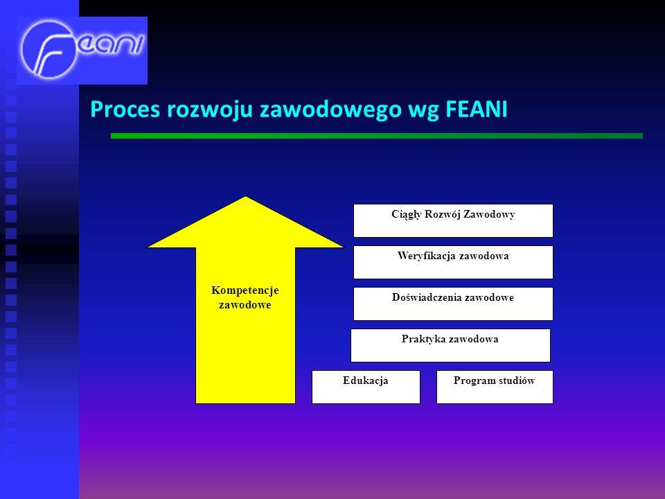 Proces rozwoju zawodowego wg FEANI Ciągły Rozwój Zawodowy Kompetencje zawodowe Weryfikacja zawodowa Doświadczenia zawodowe Praktyka zawodowa EdukacjaProgram studiów