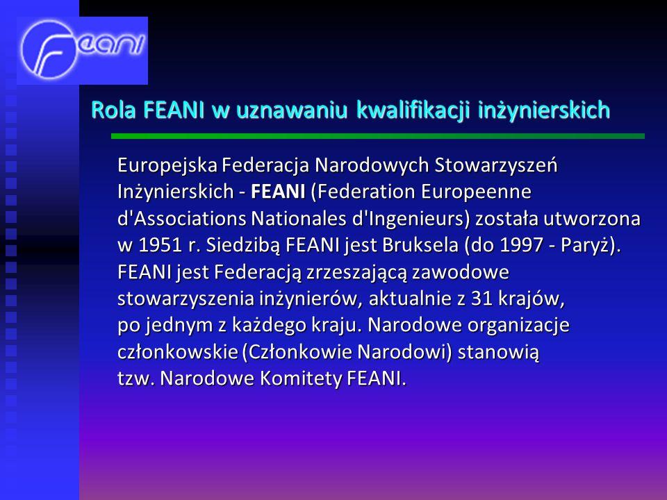 Rola FEANI w uznawaniu kwalifikacji inżynierskich Europejska Federacja Narodowych Stowarzyszeń Inżynierskich - FEANI (Federation Europeenne d Associations Nationales d Ingenieurs) została utworzona w 1951 r.