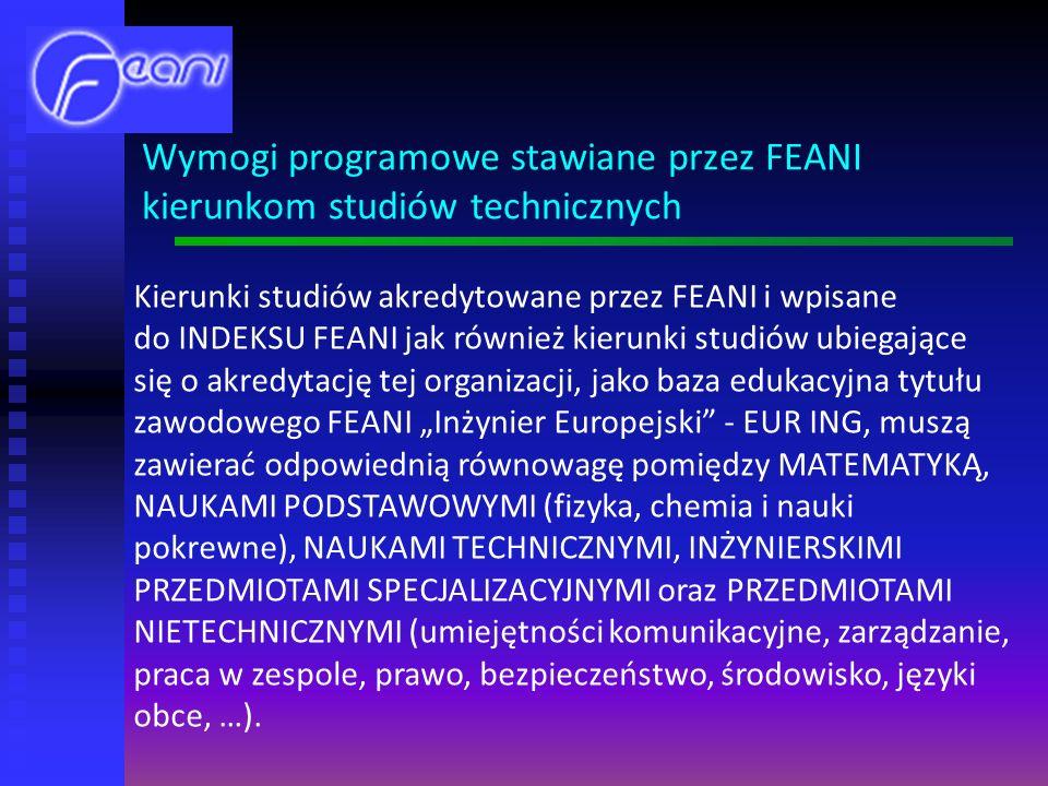 Kierunki studiów akredytowane przez FEANI i wpisane do INDEKSU FEANI jak również kierunki studiów ubiegające się o akredytację tej organizacji, jako baza edukacyjna tytułu zawodowego FEANI Inżynier Europejski - EUR ING, muszą zawierać odpowiednią równowagę pomiędzy MATEMATYKĄ, NAUKAMI PODSTAWOWYMI (fizyka, chemia i nauki pokrewne), NAUKAMI TECHNICZNYMI, INŻYNIERSKIMI PRZEDMIOTAMI SPECJALIZACYJNYMI oraz PRZEDMIOTAMI NIETECHNICZNYMI (umiejętności komunikacyjne, zarządzanie, praca w zespole, prawo, bezpieczeństwo, środowisko, języki obce, …).