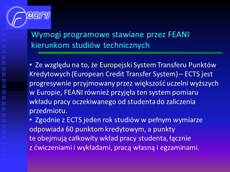 Ze względu na to, że Europejski System Transferu Punktów Kredytowych (European Credit Transfer System) – ECTS jest progresywnie przyjmowany przez większość uczelni wyższych w Europie, FEANI również przyjęła ten system pomiaru wkładu pracy oczekiwanego od studenta do zaliczenia przedmiotu.