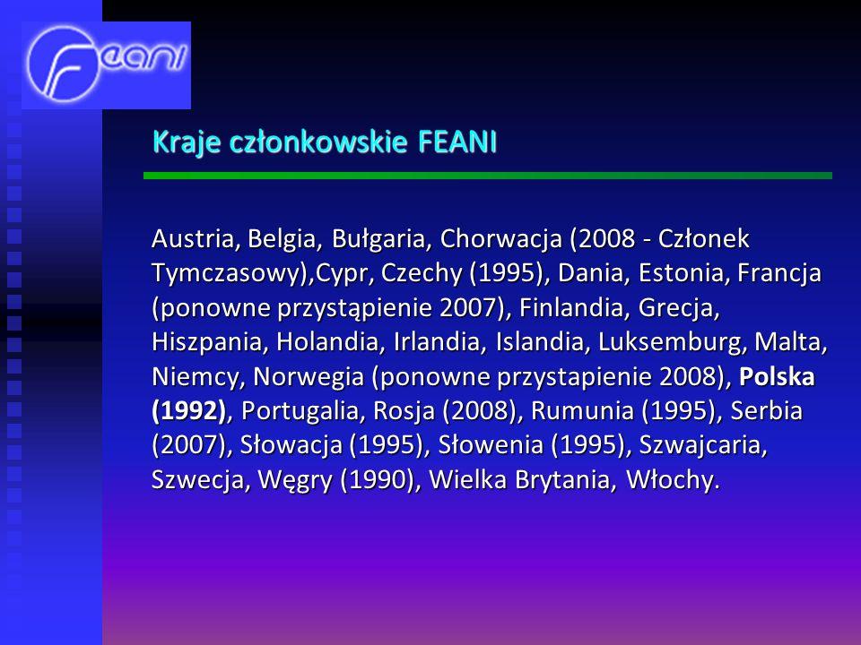 Kraje członkowskie FEANI Austria, Belgia, Bułgaria, Chorwacja (2008 - Członek Tymczasowy),Cypr, Czechy (1995), Dania, Estonia, Francja (ponowne przystąpienie 2007), Finlandia, Grecja, Hiszpania, Holandia, Irlandia, Islandia, Luksemburg, Malta, Niemcy, Norwegia (ponowne przystapienie 2008), Polska (1992), Portugalia, Rosja (2008), Rumunia (1995), Serbia (2007), Słowacja (1995), Słowenia (1995), Szwajcaria, Szwecja, Węgry (1990), Wielka Brytania, Włochy.