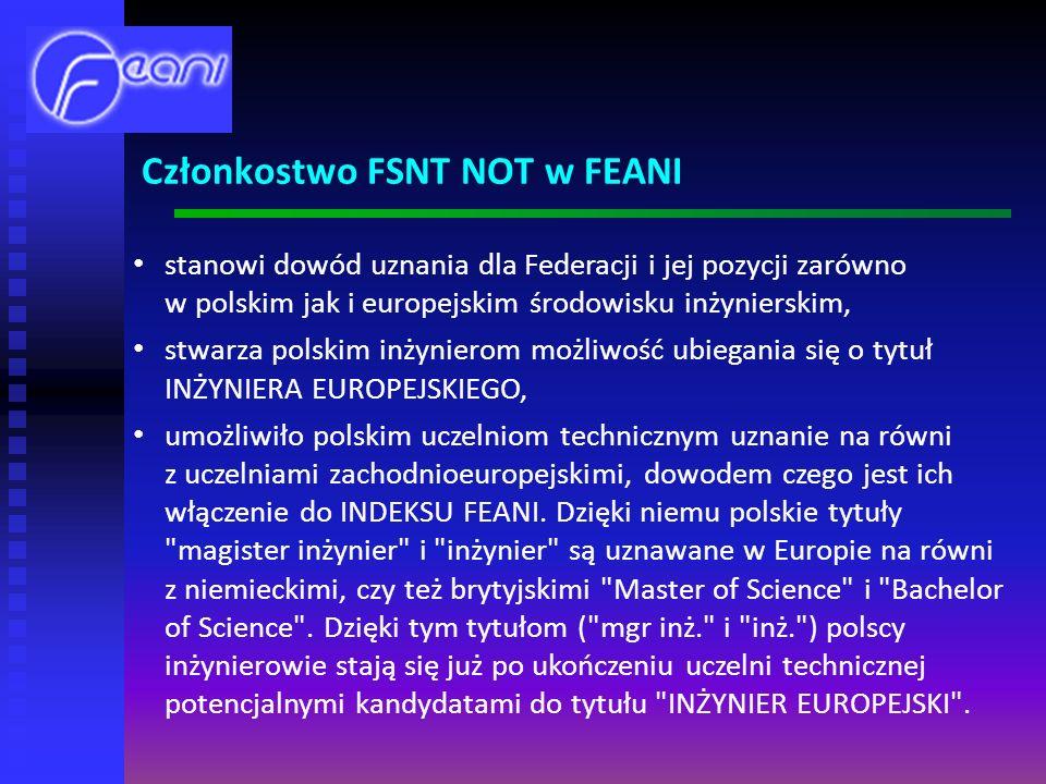 stanowi dowód uznania dla Federacji i jej pozycji zarówno w polskim jak i europejskim środowisku inżynierskim, stwarza polskim inżynierom możliwość ubiegania się o tytuł INŻYNIERA EUROPEJSKIEGO, umożliwiło polskim uczelniom technicznym uznanie na równi z uczelniami zachodnioeuropejskimi, dowodem czego jest ich włączenie do INDEKSU FEANI.
