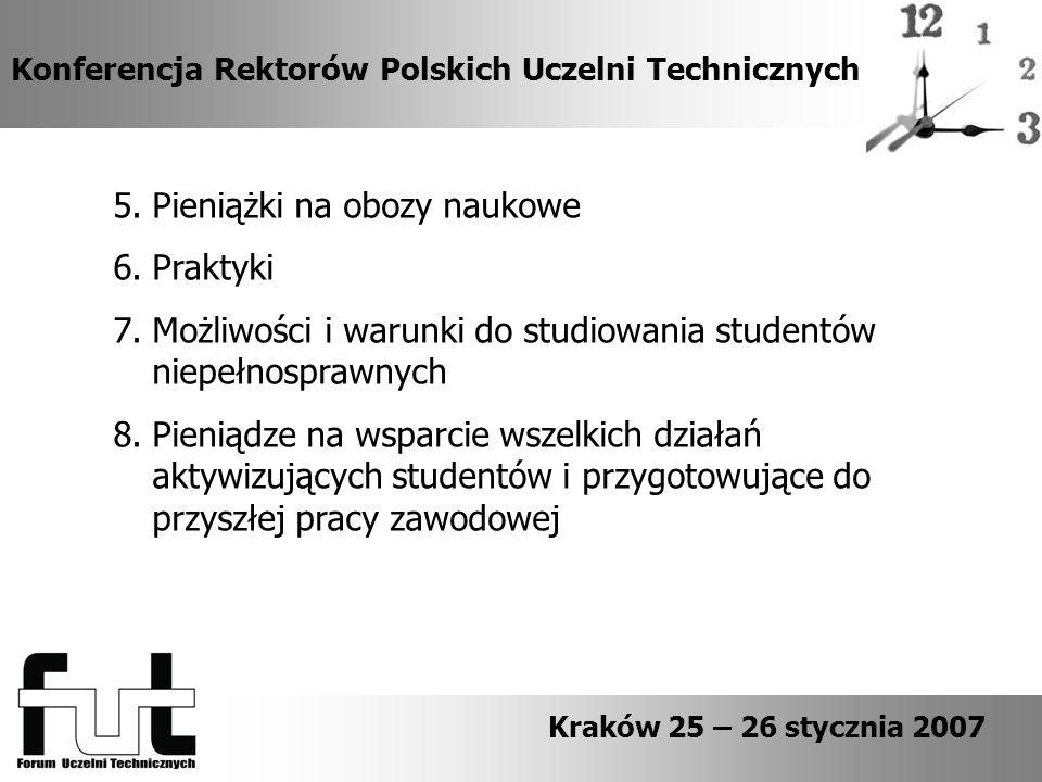 Konferencja Rektorów Polskich Uczelni Technicznych Kraków 25 – 26 stycznia 2007 5.Pieniążki na obozy naukowe 6.Praktyki 7.Możliwości i warunki do studiowania studentów niepełnosprawnych 8.Pieniądze na wsparcie wszelkich działań aktywizujących studentów i przygotowujące do przyszłej pracy zawodowej