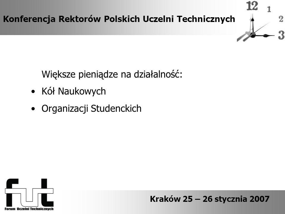 Konferencja Rektorów Polskich Uczelni Technicznych Kraków 25 – 26 stycznia 2007 Większe pieniądze na działalność: Kół Naukowych Organizacji Studenckich