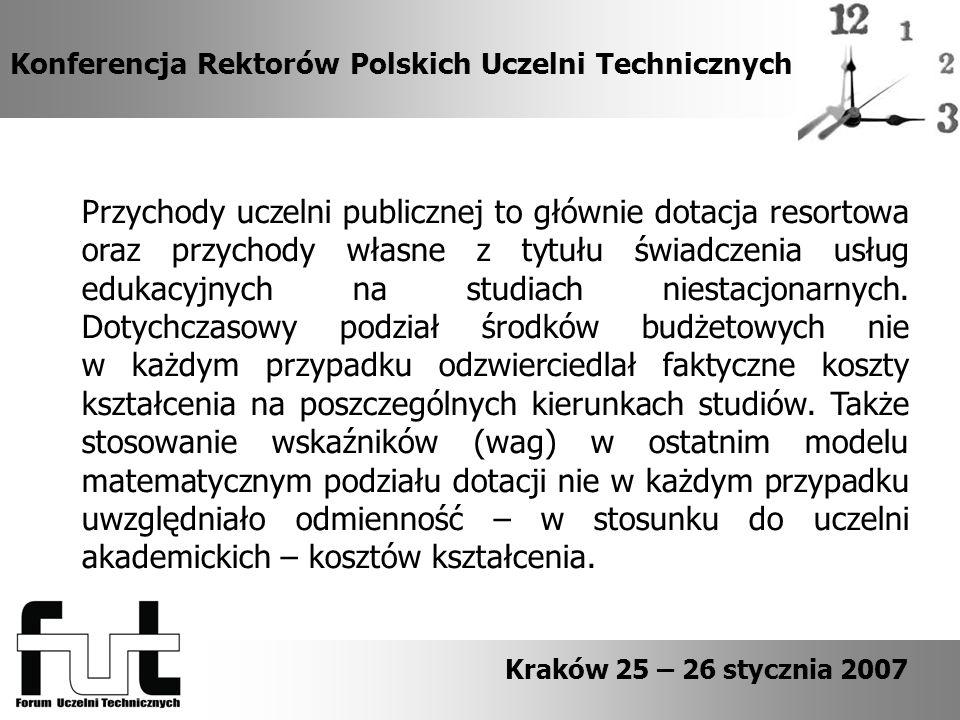 Konferencja Rektorów Polskich Uczelni Technicznych Kraków 25 – 26 stycznia 2007 Przychody uczelni publicznej to głównie dotacja resortowa oraz przychody własne z tytułu świadczenia usług edukacyjnych na studiach niestacjonarnych.