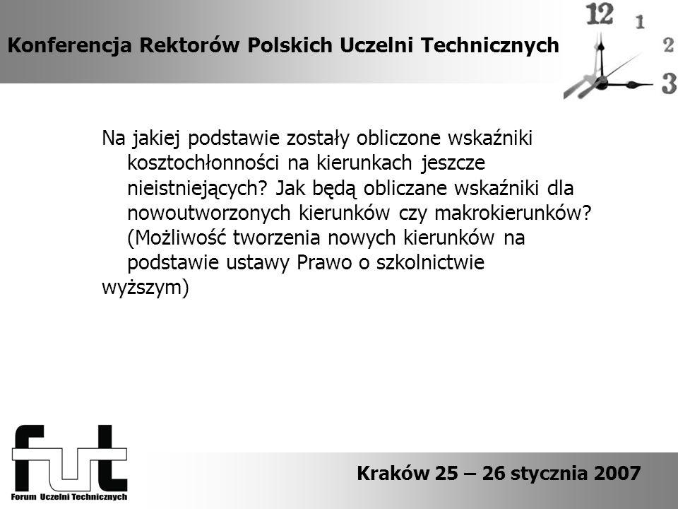 Konferencja Rektorów Polskich Uczelni Technicznych Na jakiej podstawie zostały obliczone wskaźniki kosztochłonności na kierunkach jeszcze nieistniejących.
