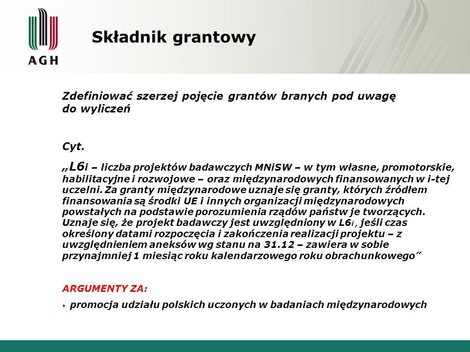 Składnik grantowy Zdefiniować szerzej pojęcie grantów branych pod uwagę do wyliczeń Cyt.