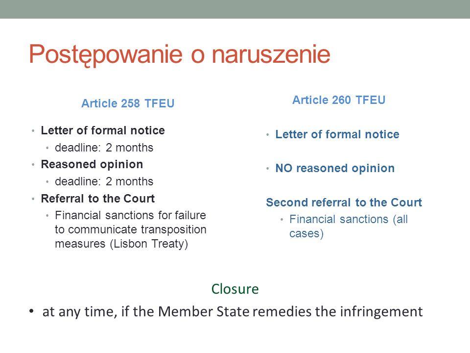 Postępowanie o naruszenie Article 258 TFEU Letter of formal notice deadline: 2 months Reasoned opinion deadline: 2 months Referral to the Court Financ