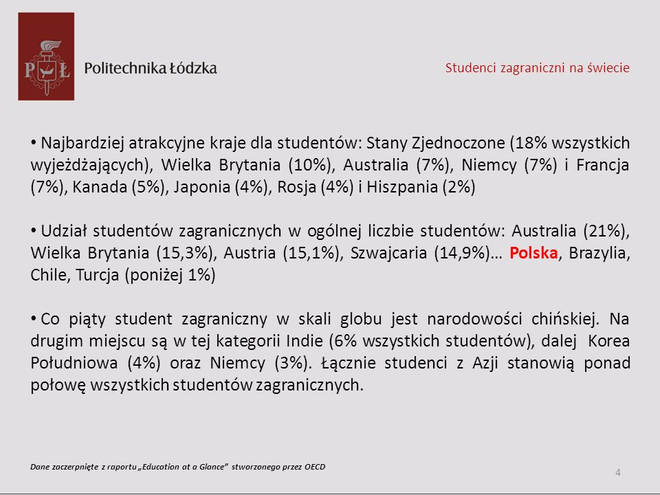 Studenci zagraniczni na świecie Najbardziej atrakcyjne kraje dla studentów: Stany Zjednoczone (18% wszystkich wyjeżdżających), Wielka Brytania (10%),