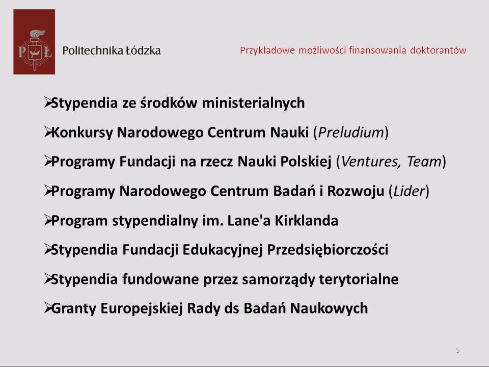 Stypendia ze środków ministerialnych Konkursy Narodowego Centrum Nauki (Preludium) Programy Fundacji na rzecz Nauki Polskiej (Ventures, Team) Programy