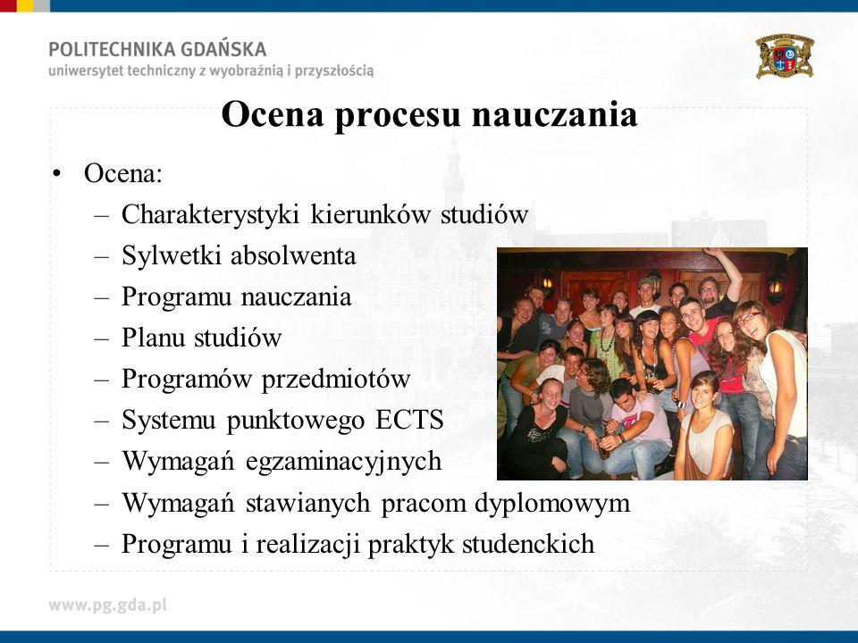 Ocena procesu nauczania Ocena: –Charakterystyki kierunków studiów –Sylwetki absolwenta –Programu nauczania –Planu studiów –Programów przedmiotów –Syst