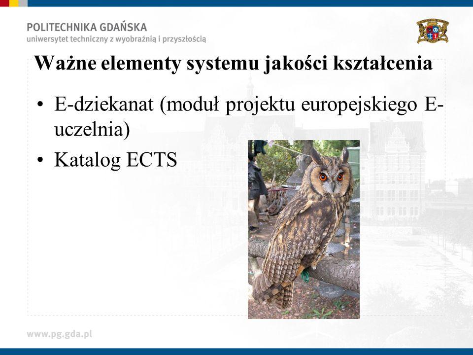 Ważne elementy systemu jakości kształcenia E-dziekanat (moduł projektu europejskiego E- uczelnia) Katalog ECTS