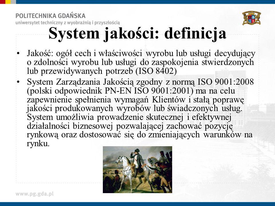 System jakości: definicja Jakość: ogół cech i właściwości wyrobu lub usługi decydujący o zdolności wyrobu lub usługi do zaspokojenia stwierdzonych lub przewidywanych potrzeb (ISO 8402) System Zarządzania Jakością zgodny z normą ISO 9001:2008 (polski odpowiednik PN-EN ISO 9001:2001) ma na celu zapewnienie spełnienia wymagań Klientów i stałą poprawę jakości produkowanych wyrobów lub świadczonych usług.
