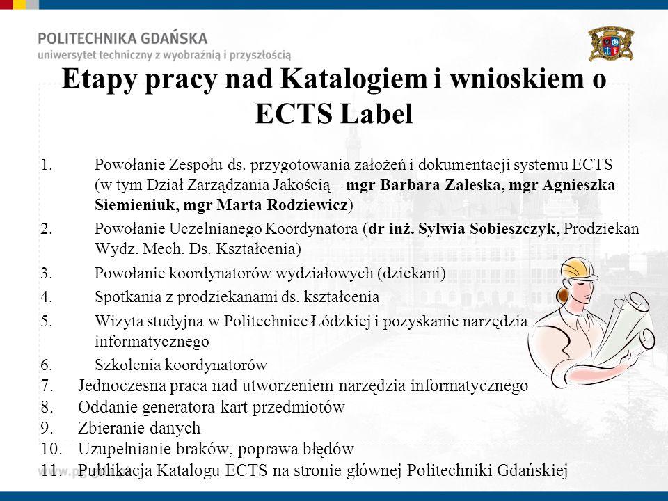 Etapy pracy nad Katalogiem i wnioskiem o ECTS Label 1.Powołanie Zespołu ds. przygotowania założeń i dokumentacji systemu ECTS (w tym Dział Zarządzania