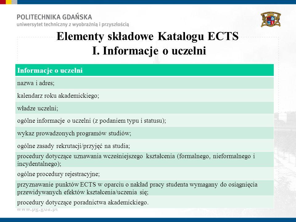 Elementy składowe Katalogu ECTS I. Informacje o uczelni Informacje o uczelni nazwa i adres; kalendarz roku akademickiego; władze uczelni; ogólne infor