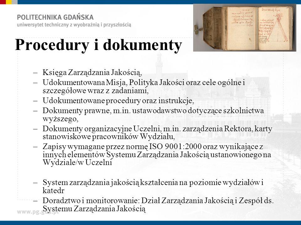 Procedury i dokumenty –Księga Zarządzania Jakością, –Udokumentowana Misja, Polityka Jakości oraz cele ogólne i szczegółowe wraz z zadaniami, –Udokumen