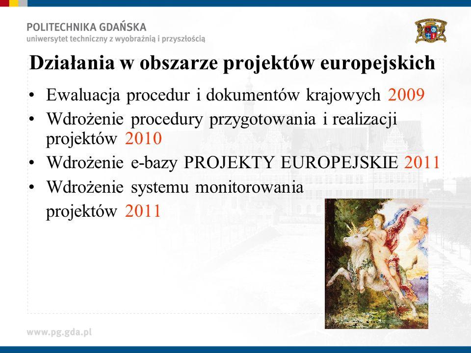 Działania w obszarze projektów europejskich Ewaluacja procedur i dokumentów krajowych 2009 Wdrożenie procedury przygotowania i realizacji projektów 2010 Wdrożenie e-bazy PROJEKTY EUROPEJSKIE 2011 Wdrożenie systemu monitorowania projektów 2011