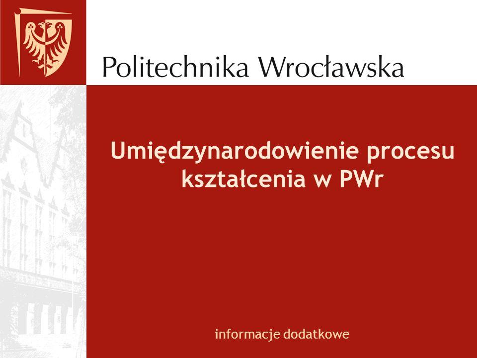 Umiędzynarodowienie procesu kształcenia w PWr informacje dodatkowe