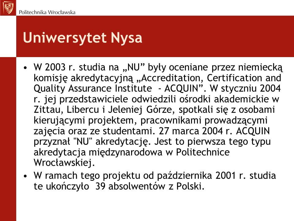 Uniwersytet Nysa W 2003 r. studia na NU były oceniane przez niemiecką komisję akredytacyjną Accreditation, Certification and Quality Assurance Institu