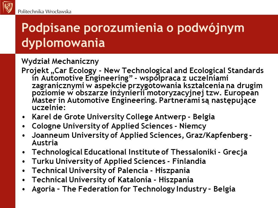 Podpisane porozumienia o podwójnym dyplomowania Wydział Mechaniczny Projekt Car Ecology - New Technological and Ecological Standards in Automotive Eng