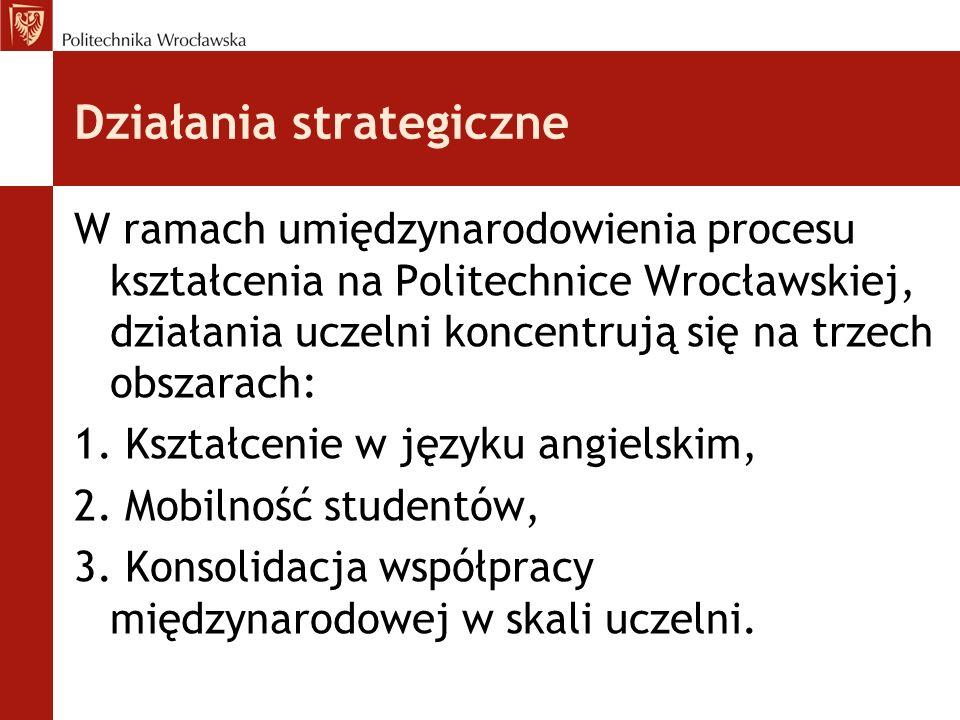 Działania strategiczne W ramach umiędzynarodowienia procesu kształcenia na Politechnice Wrocławskiej, działania uczelni koncentrują się na trzech obsz