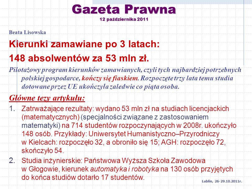 Gazeta Prawna 12 października 2011 Beata Lisowska Kierunki zamawiane po 3 latach: 148 absolwentów za 53 mln zł. Pilotażowy program kierunków zamawiany