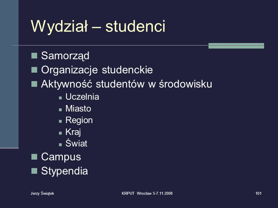Wydział – studenci Samorząd Organizacje studenckie Aktywność studentów w środowisku Uczelnia Miasto Region Kraj Świat Campus Stypendia 101KRPUT Wrocła
