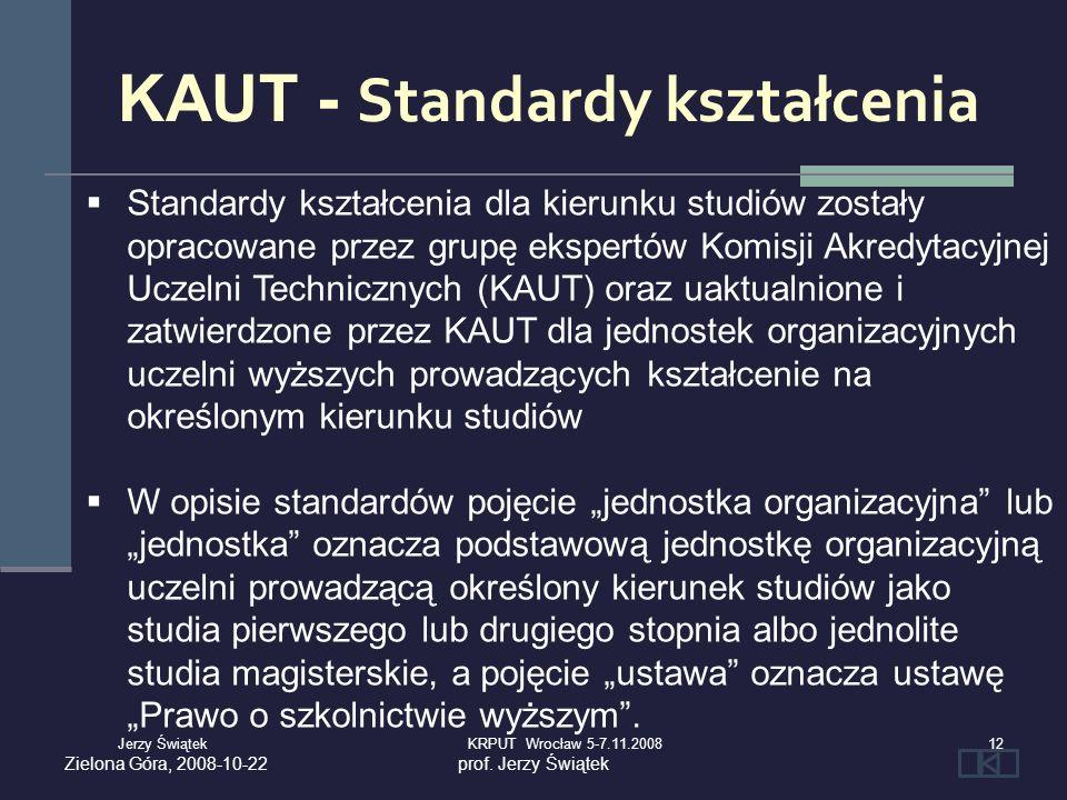 Standardy kształcenia dla kierunku studiów zostały opracowane przez grupę ekspertów Komisji Akredytacyjnej Uczelni Technicznych (KAUT) oraz uaktualnio