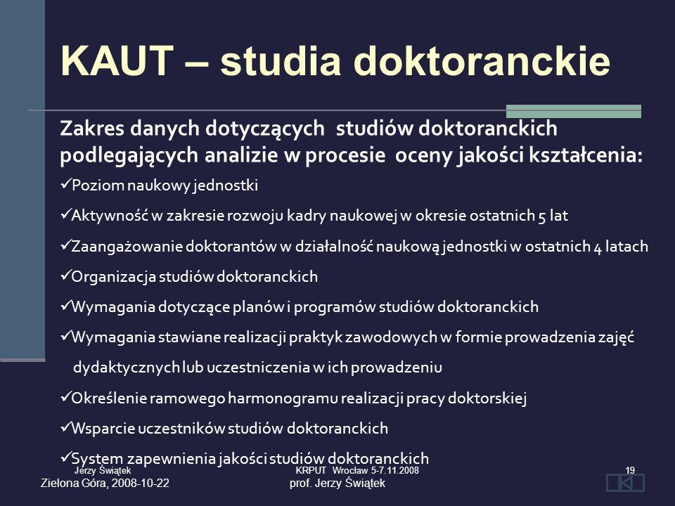 Zielona Góra, 2008-10-22prof. Jerzy Świątek Zakres danych dotyczących studiów doktoranckich podlegających analizie w procesie oceny jakości kształceni