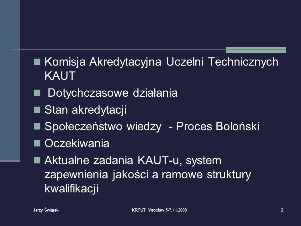 Komisja Akredytacyjna Uczelni Technicznych KAUT Dotychczasowe działania Stan akredytacji Społeczeństwo wiedzy - Proces Boloński Oczekiwania Aktualne z