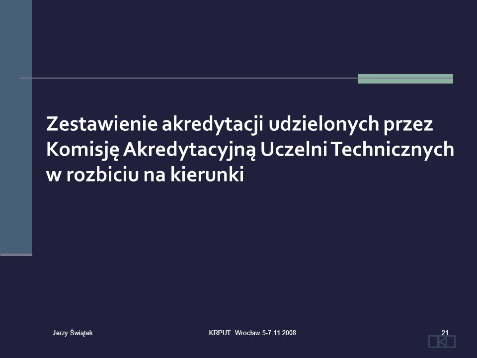 Zestawienie akredytacji udzielonych przez Komisję Akredytacyjną Uczelni Technicznych w rozbiciu na kierunki 21KRPUT Wrocław 5-7.11.2008 Jerzy Świątek