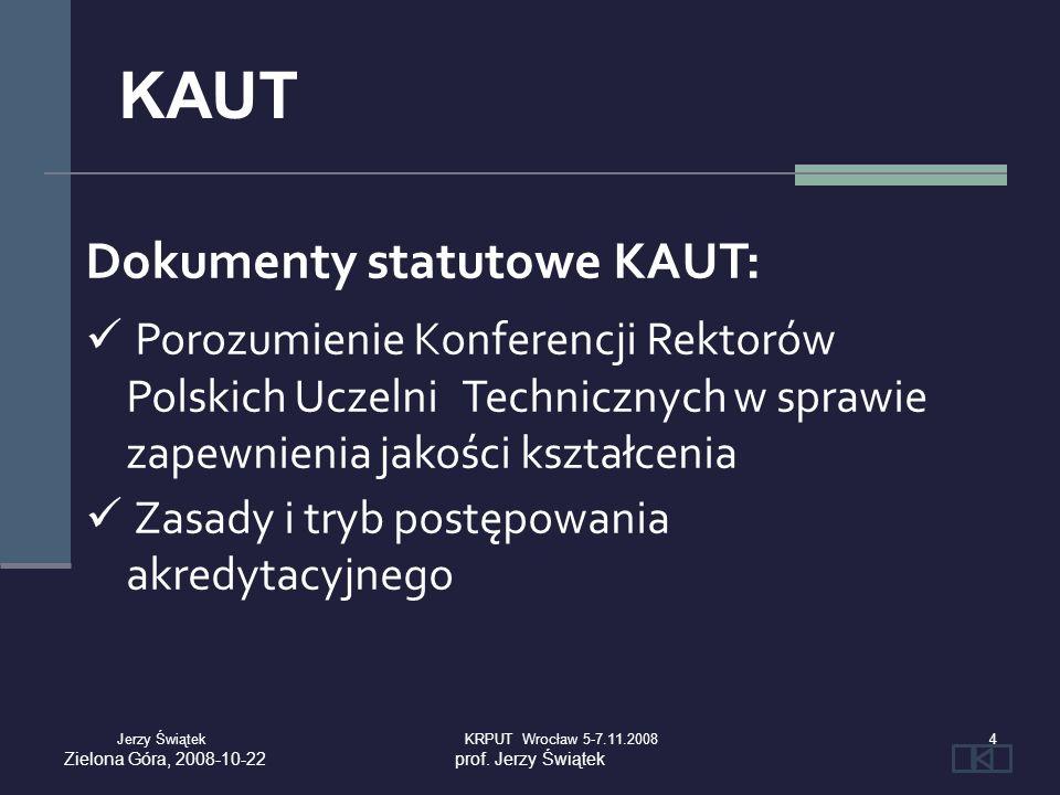 Dokumenty statutowe KAUT: Porozumienie Konferencji Rektorów Polskich Uczelni Technicznych w sprawie zapewnienia jakości kształcenia Zasady i tryb post