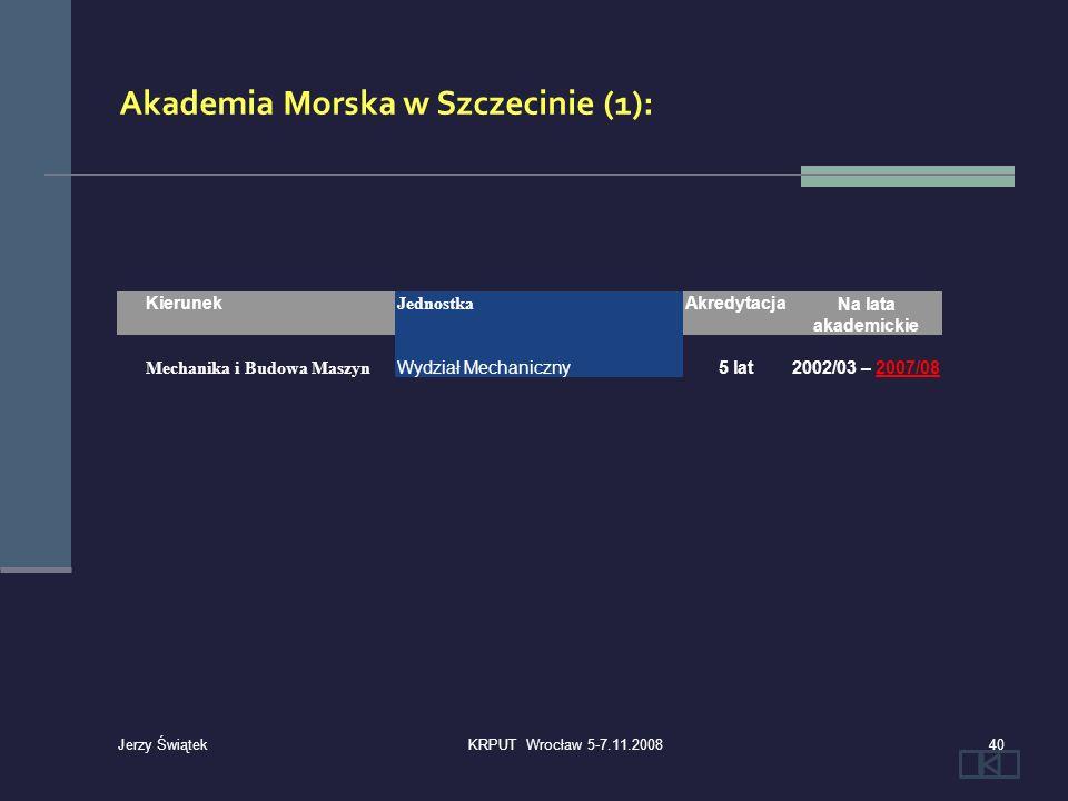 Kierunek Jednostka AkredytacjaNa lata akademickie Mechanika i Budowa Maszyn Wydział Mechaniczny5 lat2002/03 – 2007/08 Akademia Morska w Szczecinie (1)