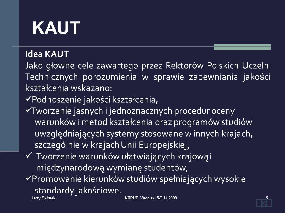 Zestawienie akredytacji udzielonych przez Komisję Akredytacyjną Uczelni Technicznych w rozbiciu na szkoły wyższe 26KRPUT Wrocław 5-7.11.2008 Jerzy Świątek