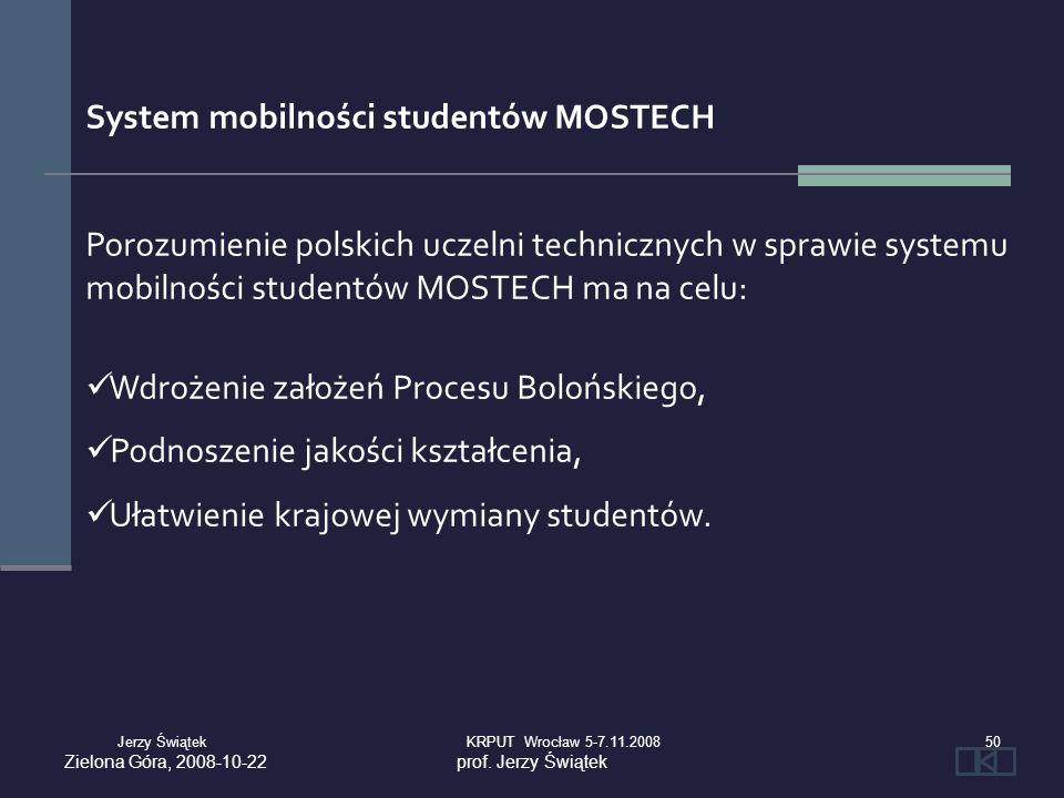 System mobilności studentów MOSTECH Porozumienie polskich uczelni technicznych w sprawie systemu mobilności studentów MOSTECH ma na celu: Wdrożenie za