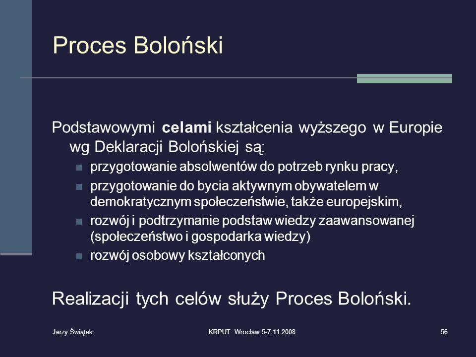 Proces Boloński Podstawowymi celami kształcenia wyższego w Europie wg Deklaracji Bolońskiej są : przygotowanie absolwentów do potrzeb rynku pracy, prz