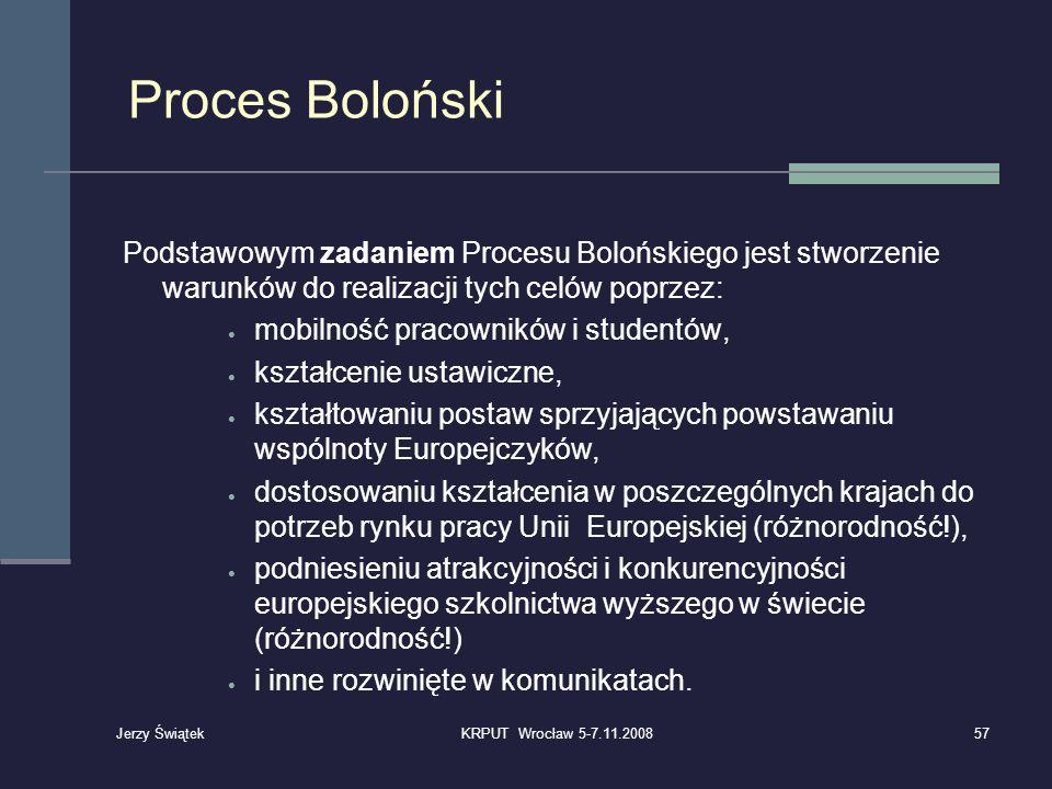 Proces Boloński Podstawowym zadaniem Procesu Bolońskiego jest stworzenie warunków do realizacji tych celów poprzez: mobilność pracowników i studentów,