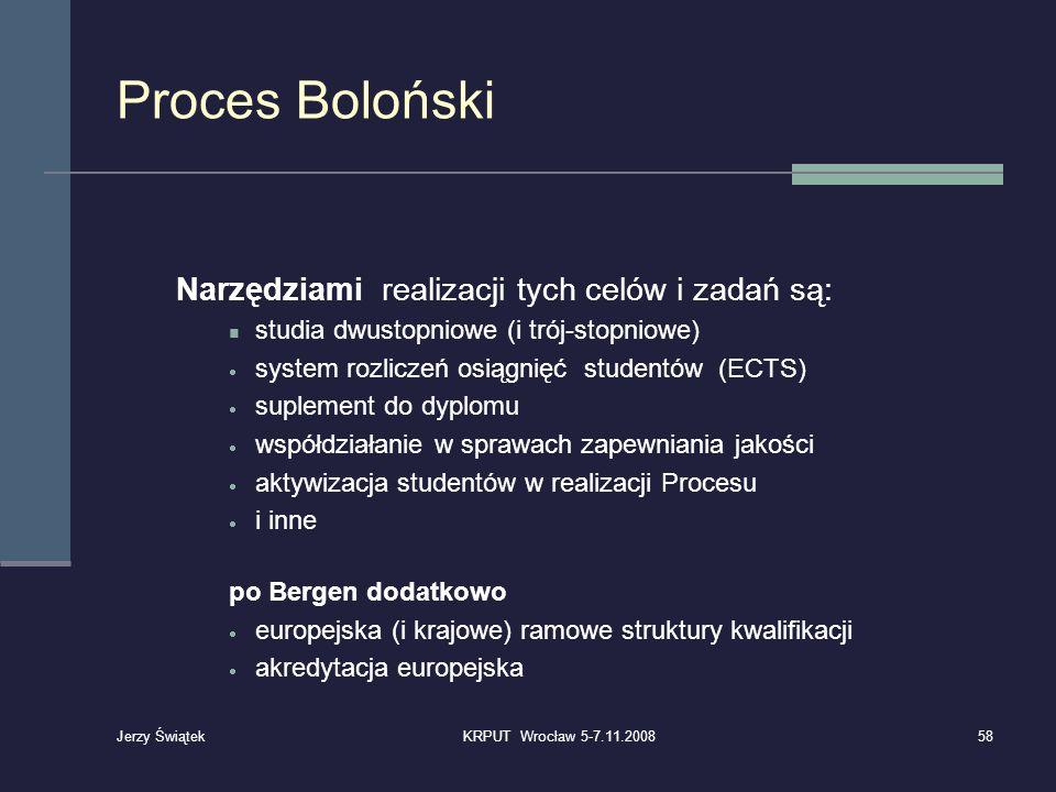 Proces Boloński Narzędziami realizacji tych celów i zadań są: studia dwustopniowe (i trój-stopniowe) system rozliczeń osiągnięć studentów (ECTS) suple