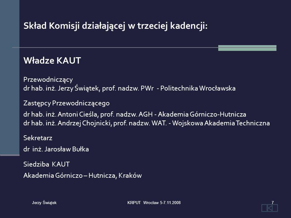 Skład Komisji działającej w trzeciej kadencji: Władze KAUT Przewodniczący dr hab. inż. Jerzy Świątek, prof. nadzw. PWr - Politechnika Wrocławska Zastę